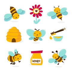 Cute Honey Bee Icons
