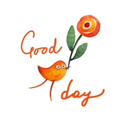 Bird with flower. Greeting. Good day. Vector