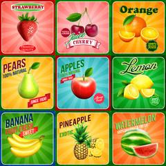 banner all fruits vintage