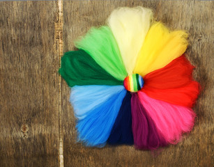 palette color circle of merino wool   on the wooden background