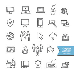 Hand drawn computer icons collection: interface icons