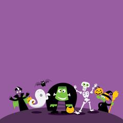 Halloween Monsters copy space