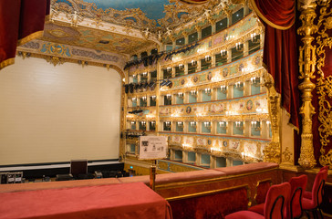 VENICE - APRIL 7, 2014: Interior of La Fenice Theatre. Teatro La