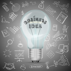 bulb with drawing business success strategy plan idea