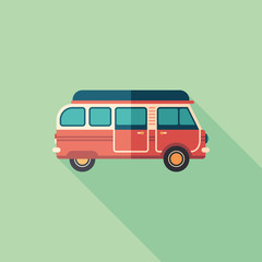 Travel van flat square icon with long shadows.