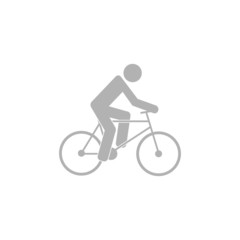 Simple icon cyclist, bike route sign.