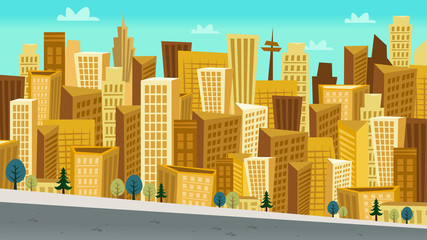 Cartoon Style Day Cityscape with Kooky skyscrapers