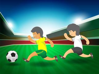 soccer player running, cartoon vector