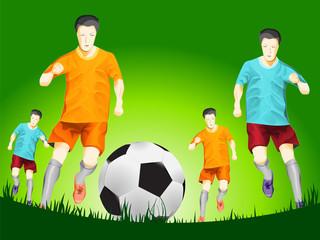 soccer player running forward to soccer