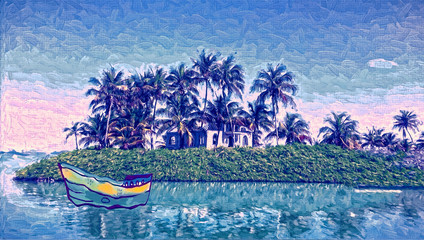 Tropical island. Oil painting