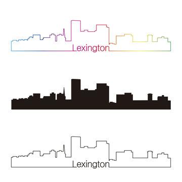 Lexington skyline linear style with rainbow