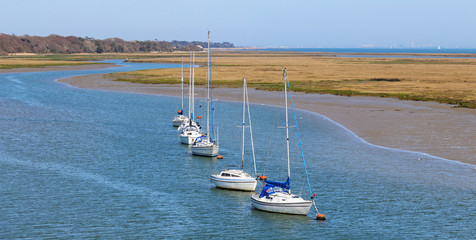 Moored yachts on the Solent in Hampshire