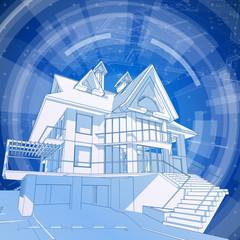 Architecture design: blueprint 3d house
