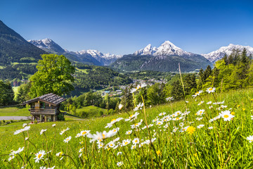 Wall Mural - Idyllic landscape in the Alps with mountain lodge in spring