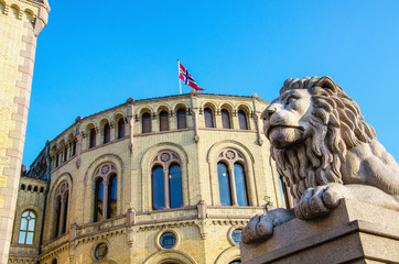 Exterior of the Norwegian Parliament (Stortinget) Oslo, Norway