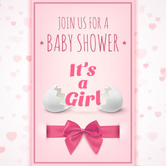 Its a girl. Template for baby shower celebration.