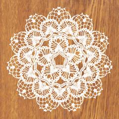 White crochet doily.