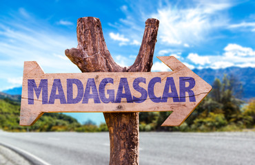 Madagascar wooden sign with road background