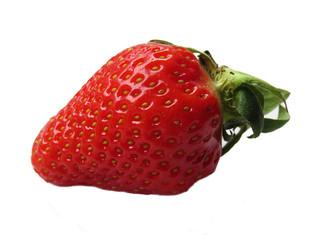 One fresh strawberry on white