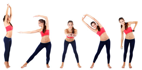 Beautiful young woman doing exercises in collage