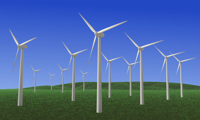 Wind farm - 3D rendered illustration