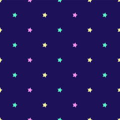 Starry night seamless pattern polka dots vector background