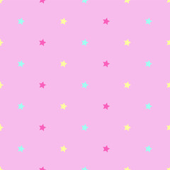 pink stars polka dots seamless vector princess pattern