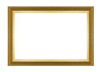 Picture frame gold dark tones wood frame in white background.