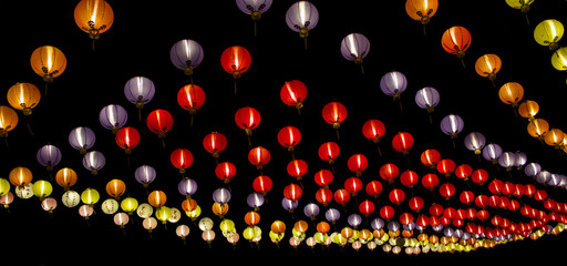 colorful Chinese lantern in black background