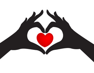 Silhouette hands and love heart
