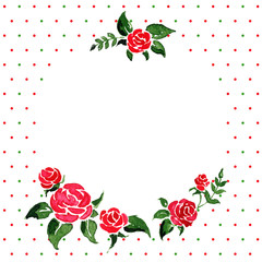 Vector background -- round frame of roses
