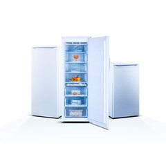 Three freezers on white background, open