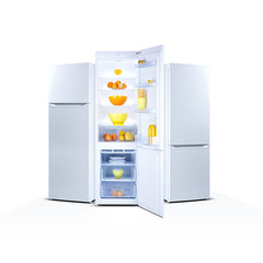 Three refrigerators isolated on white, open door