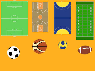 balls, fields and court collection - vector