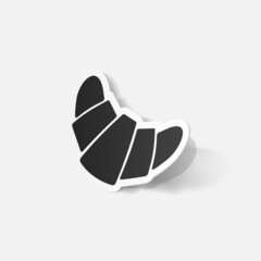 Paper clipped sticker: croissant