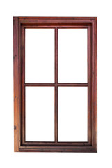 Wooden window frame isolated on white background