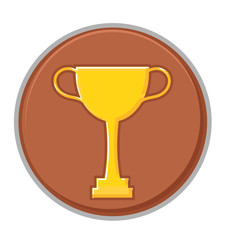 Retro Golden Victory Cup Coin Vector