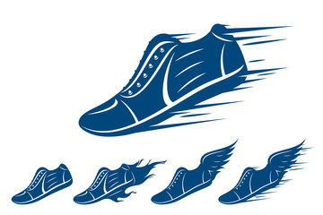 Running shoe icons, sports shoe with motion and fire trails