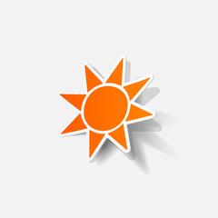 Realistic paper sticker: sun