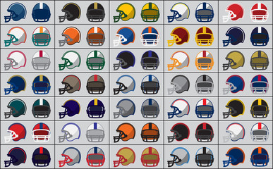 Icons of American football helmets. Vector illustration.