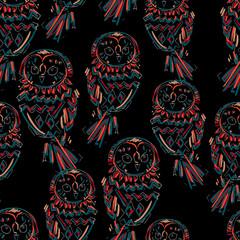 Wall Mural - owl vector silhouette, design. seamless.