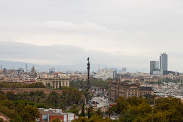 View of Columbus Monument and Barcelona city