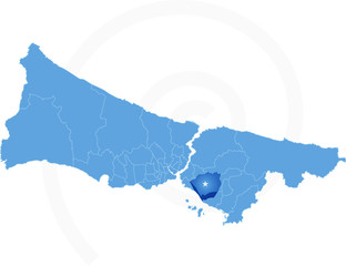 Istanbul Map with administrative districts where Maltepe is pull