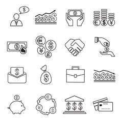 Set of 16 money, finance icons.
