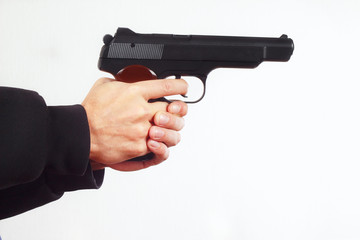 Hands with semi-automatic army gun