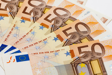 European currency - Fifty Euro Banknotes