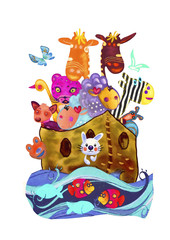 Noah s ark. Watercolor painting