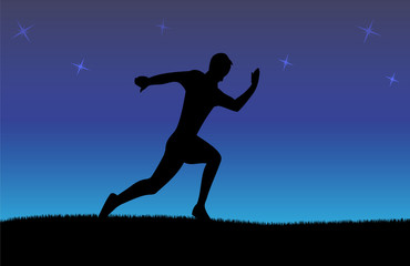 Silhouette of running man in night background with stars
