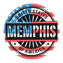 Grunge stamp with the text United States of America, Memphis