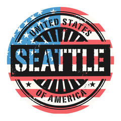 Grunge stamp with the text United States of America, Seattle